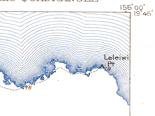 Reduced fragment of topographic map en--usgs--063k--055355--(1932)--N019-45_W155-15--N019-30_W155-00; towns and cities Hilo, Keaau, Kurtistown, Mountain View