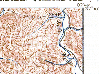 Reduced fragment of topographic map en--usgs--063k--055358--(1915)--N037-30_W083-00--N037-15_W082-45; towns and cities Hindman, Pippa Passes, Wayland