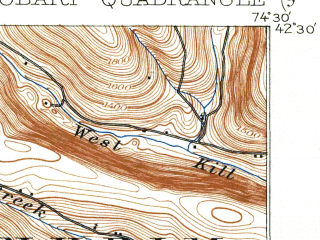 Reduced fragment of topographic map en--usgs--063k--055366--(1904)--N042-30_W074-45--N042-15_W074-30; towns and cities Hobart, Stamford
