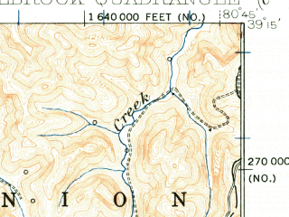 Reduced fragment of topographic map en--usgs--063k--055374--(1924)--N039-15_W081-00--N039-00_W080-45; towns and cities Auburn, Pullman