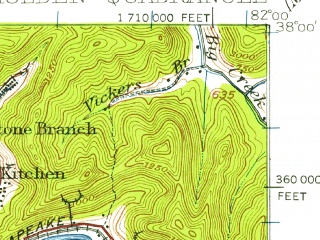 Reduced fragment of topographic map en--usgs--063k--055378--(1926)--N038-00_W082-15--N037-45_W082-00; towns and cities Chapmanville, Holden, Verdunville