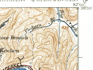 Reduced fragment of topographic map en--usgs--063k--055378--(1928)--N038-00_W082-15--N037-45_W082-00; towns and cities Chapmanville, Holden, Verdunville