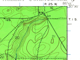 Reduced fragment of topographic map en--usgs--063k--055384--(1936)--N030-30_W087-00--N030-15_W086-45