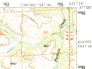 Reduced fragment of topographic map en--usgs--063k--055387--(1955)--N037-00_W121-30--N036-45_W121-15; towns and cities Hollister