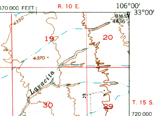 Reduced fragment of topographic map en--usgs--063k--055390--(1948)--N033-00_W106-15--N032-45_W106-00; towns and cities Holloman Afb