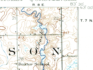 Reduced fragment of topographic map en--usgs--063k--055393--(1920)--N043-00_W083-45--N042-45_W083-30 in area of Lake Fenton; towns and cities Burton, Fenton, Grand Blanc, Holly, Goodrich