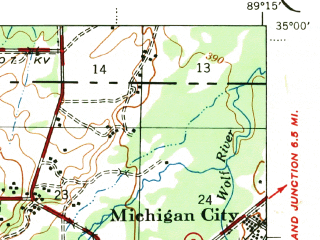 Reduced fragment of topographic map en--usgs--063k--055395--(1953)--N035-00_W089-30--N034-45_W089-15; towns and cities Holly Springs