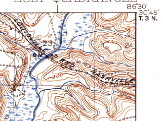 Reduced fragment of topographic map en--usgs--063k--055398--(1937)--N030-45_W086-45--N030-30_W086-30