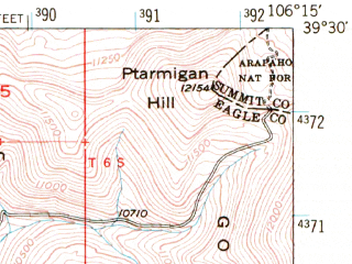 Reduced fragment of topographic map en--usgs--063k--055402--(1949)--N039-30_W106-30--N039-15_W106-15 in area of Turquoise Lake, Homestake Reservoir; towns and cities Leadville North