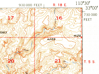 Reduced fragment of topographic map en--usgs--063k--055423--(1949)--N033-00_W110-45--N032-45_W110-30; towns and cities Dudleyville