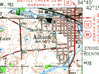 Reduced fragment of topographic map en--usgs--063k--055428--(1948)--N042-15_W085-00--N042-00_W084-45; towns and cities Albion, Homer, Litchfield, Tekonsha