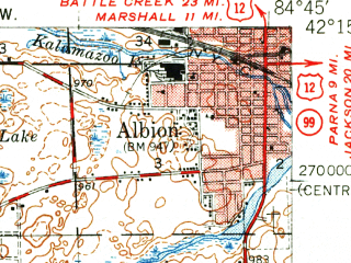 Reduced fragment of topographic map en--usgs--063k--055428--(1949)--N042-15_W085-00--N042-00_W084-45; towns and cities Albion, Homer, Litchfield, Tekonsha