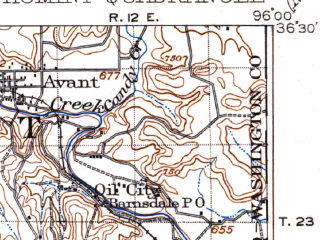 Reduced fragment of topographic map en--usgs--063k--055434--(1915)--N036-30_W096-30--N036-15_W096-15; towns and cities Cleveland, Hominy, Osage