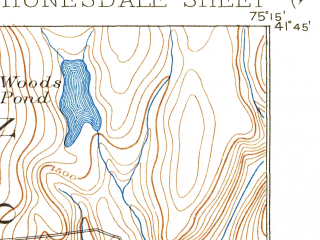 Reduced fragment of topographic map en--usgs--063k--055438--(1892)--N041-45_W075-30--N041-30_W075-15 in area of Henry Lake; towns and cities Union Dale, Vandling, Waymart