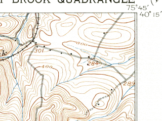 Reduced fragment of topographic map en--usgs--063k--055439--(1905)--N040-15_W076-00--N040-00_W075-45; towns and cities Honey Brook, Elverson