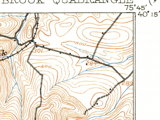 Reduced fragment of topographic map en--usgs--063k--055439--(1907)--N040-15_W076-00--N040-00_W075-45; towns and cities Elverson, Honey Brook