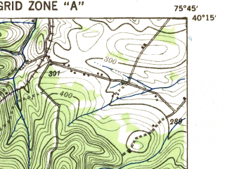 Reduced fragment of topographic map en--usgs--063k--055439--(1941)--N040-15_W076-00--N040-00_W075-45; towns and cities Honey Brook, Elverson