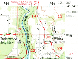 Reduced fragment of topographic map en--usgs--063k--055444--(1957)--N045-45_W121-45--N045-30_W121-30; towns and cities Hood River