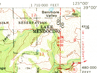 Reduced fragment of topographic map en--usgs--063k--055475--(1960)--N039-00_W123-15--N038-45_W123-00; towns and cities Cloverdale