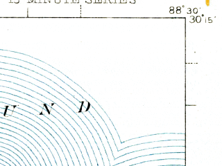 Reduced fragment of topographic map en--usgs--063k--055478--(1942)--N030-15_W088-45--N030-00_W088-30