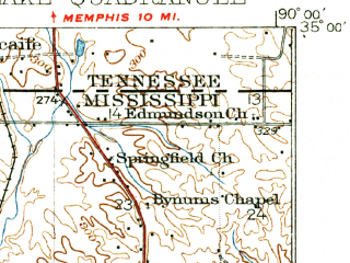 Reduced fragment of topographic map en--usgs--063k--055479--(1935)--N035-00_W090-15--N034-45_W090-00 in area of Horn Lake; towns and cities Horn Lake, Lynchburg, Newport