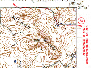 Reduced fragment of topographic map en--usgs--063k--055483--(1938)--N037-15_W086-00--N037-00_W085-45; towns and cities Cave City, Hiseville, Horse Cave