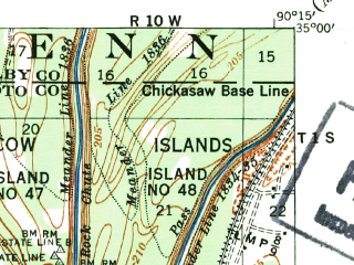 Reduced fragment of topographic map en--usgs--063k--055492--(1939)--N035-00_W090-30--N034-45_W090-15 in area of Horseshoe Lake; towns and cities Horseshoe Lake, Hughes