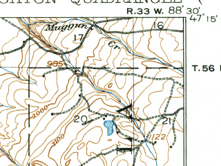 Reduced fragment of topographic map en--usgs--063k--055504--(1915)--N047-15_W088-45--N047-00_W088-30; towns and cities Houghton, Hancock, South Range