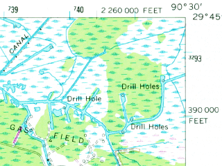 Reduced fragment of topographic map en--usgs--063k--055507--(1963)--N029-45_W090-45--N029-30_W090-30 in area of Lake Fields, Lake Long; towns and cities Houma, Raceland, Lockport, Mathews
