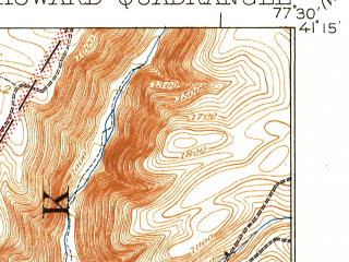 Reduced fragment of topographic map en--usgs--063k--055516--(1923)--N041-15_W077-45--N041-00_W077-30; towns and cities Howard, Beech Creek