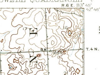 Reduced fragment of topographic map en--usgs--063k--055544--(1909)--N042-45_W084-00--N042-30_W083-45 in area of Shannon Lake; towns and cities Brighton, Howell