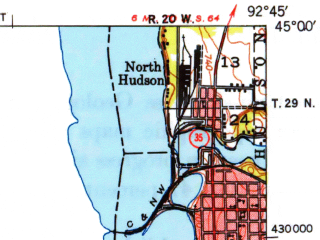 Reduced fragment of topographic map en--usgs--063k--055552--(1949)--N045-00_W093-00--N044-45_W092-45; towns and cities Cottage Grove, Woodbury, Oakdale, Lake Elmo, Lakeland