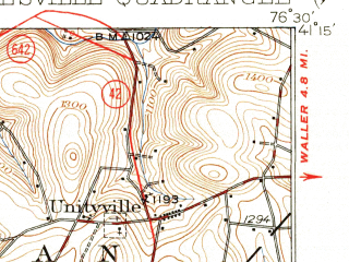 Reduced fragment of topographic map en--usgs--063k--055577--(1935)--N041-15_W076-45--N041-00_W076-30; towns and cities Hughesville, Millville, Washingtonville