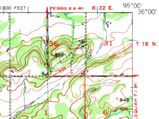 Reduced fragment of topographic map en--usgs--063k--055581--(1948)--N036-00_W095-15--N035-45_W095-00 in area of Neosho; towns and cities Fort Gibson, Hulbert