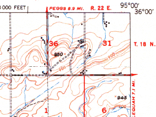 Reduced fragment of topographic map en--usgs--063k--055581--(1950)--N036-00_W095-15--N035-45_W095-00 in area of Neosho; towns and cities Fort Gibson, Hulbert