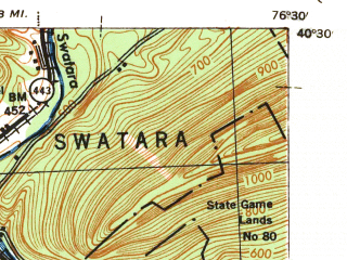 Reduced fragment of topographic map en--usgs--063k--055589--(1943)--N040-30_W076-45--N040-15_W076-30; towns and cities Hershey, Palmyra, Hummelstown, Skyline View, Annville