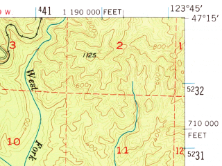 Reduced fragment of topographic map en--usgs--063k--055591--(1955)--N047-15_W124-00--N047-00_W123-45