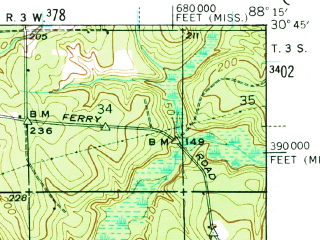 Reduced fragment of topographic map en--usgs--063k--055608--(1941)--N030-45_W088-30--N030-30_W088-15