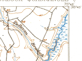 Reduced fragment of topographic map en--usgs--063k--055609--(1905)--N038-45_W076-00--N038-30_W075-45; towns and cities Federalsburg, Hurlock, Preston