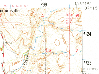 Reduced fragment of topographic map en--usgs--063k--055612--(1954)--N037-15_W113-30--N037-00_W113-15; towns and cities Hurricane, La Verkin, Leeds