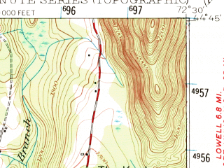 Reduced fragment of topographic map en--usgs--063k--055624--(1953)--N044-45_W072-45--N044-30_W072-30; towns and cities Hyde Park, Johnson, Morrisville
