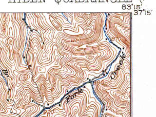 Reduced fragment of topographic map en--usgs--063k--055625--(1919)--N037-15_W083-30--N037-00_W083-15; towns and cities Hyden