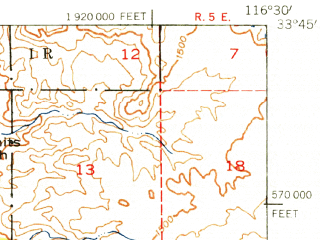 Reduced fragment of topographic map en--usgs--063k--055675--(1940)--N033-45_W116-45--N033-30_W116-30 in area of Lake Hemet; towns and cities Idyllwild-pine Cove