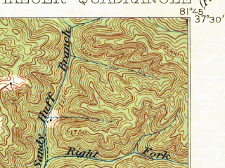 Reduced fragment of topographic map en--usgs--063k--055676--(1912)--N037-30_W082-00--N037-15_W081-45; towns and cities Bradshaw, Iaeger