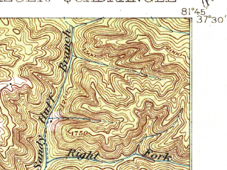 Reduced fragment of topographic map en--usgs--063k--055676--(1916)--N037-30_W082-00--N037-15_W081-45; towns and cities Bradshaw, Iaeger