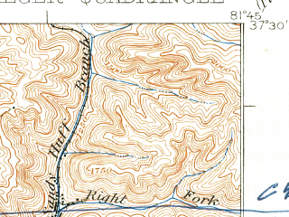 Reduced fragment of topographic map en--usgs--063k--055676--(1927)--N037-30_W082-00--N037-15_W081-45; towns and cities Bradshaw, Iaeger