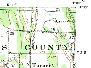 Reduced fragment of topographic map en--usgs--063k--055734--(1939)--N034-30_W091-15--N034-15_W091-00; towns and cities St. Charles