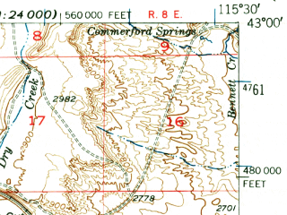 Reduced fragment of topographic map en--usgs--063k--055737--(1948)--N043-00_W115-45--N042-45_W115-30