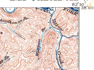 Reduced fragment of topographic map en--usgs--063k--055754--(1916)--N038-00_W082-45--N037-45_W082-30; towns and cities Inez