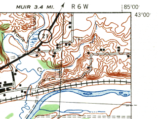 Reduced fragment of topographic map en--usgs--063k--055771--(1943)--N043-00_W085-15--N042-45_W085-00; towns and cities Ionia, Clarksville, Lake Odessa, Saranac
